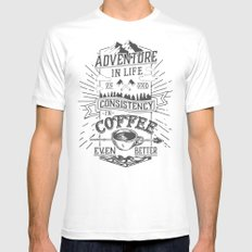 Coffee MEDIUM White Mens Fitted Tee