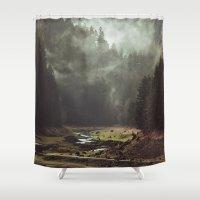 Foggy Forest Creek Shower Curtain