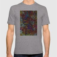 Abstract In Red & Blue Mens Fitted Tee Athletic Grey SMALL