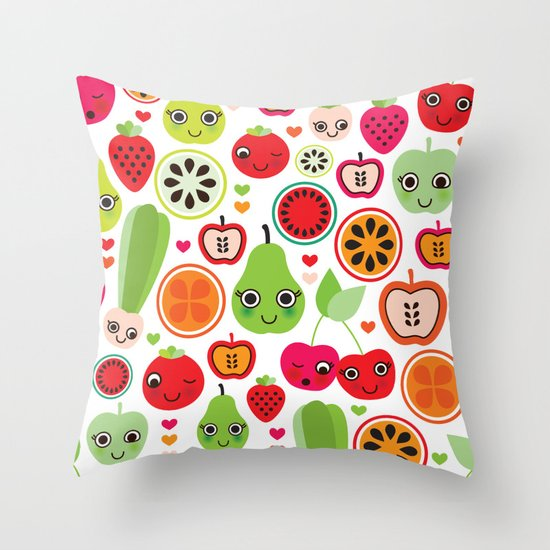 Colorful fruit cartoon characters illustration pattern Throw Pillow