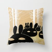 Suspicious Bunnies Throw Pillow