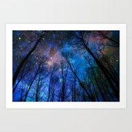 Art Print featuring Black Trees Dark Blue Sp… by 2sweet4words Designs