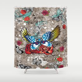 Shower Curtain - Butterfly with Roses - Eduardo Doreni