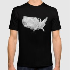 USA SMALL Black Mens Fitted Tee
