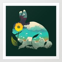 Rabbit Sky - (Forest Gre… Art Print