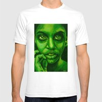 Don't Panic! Green Mens Fitted Tee White SMALL