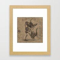 Dancing Mermaid and Skeleton Framed Art Print
