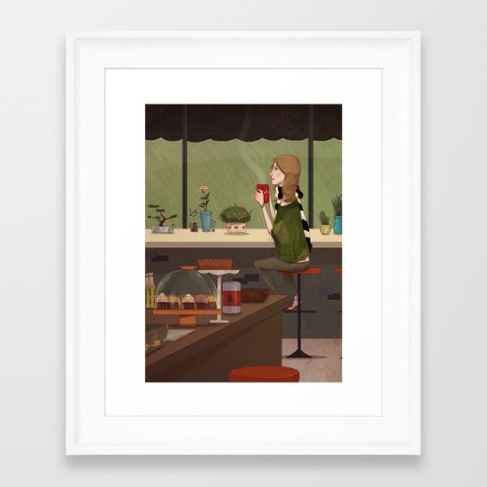Coffee + Rain Framed Art Print