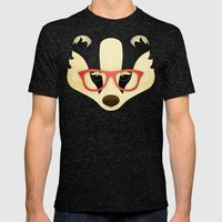 Hipster Badger: Red Mens Fitted Tee Tri-Black SMALL