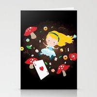 Alice Falling Down the Rabbit Hole Stationery Cards