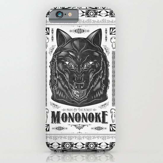 Mononoke Hime Wolf Pride Letterpress Line Work iPhone & iPod Case
