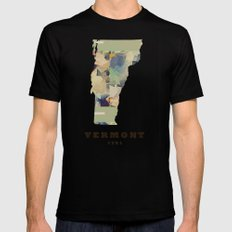 Vermont state map Mens Fitted Tee SMALL Black