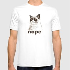 NOPE - Grumpy cat. Mens Fitted Tee White SMALL