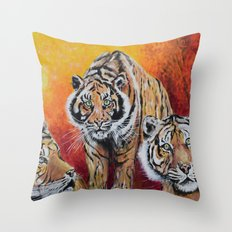 Three Tigers Throw Pillow