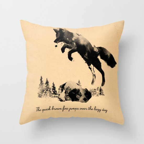 The quick brown fox jumps over the lazy dog Throw Pillow