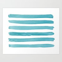 Watercolor Juicy Strokes: Teal Art Print
