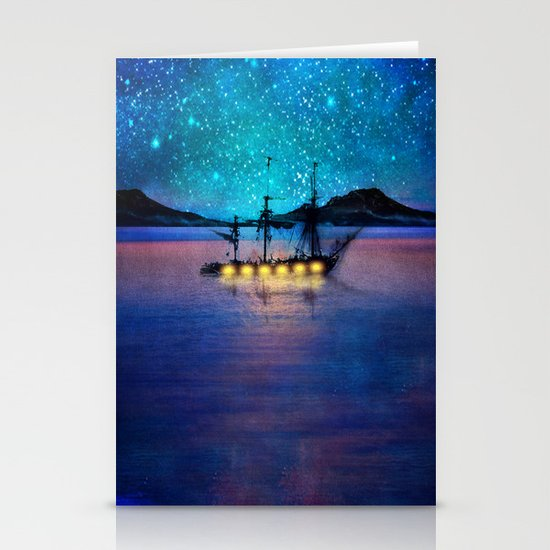 Ship in the lights Stationery Card