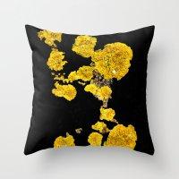 Yellow Lichen Throw Pillow