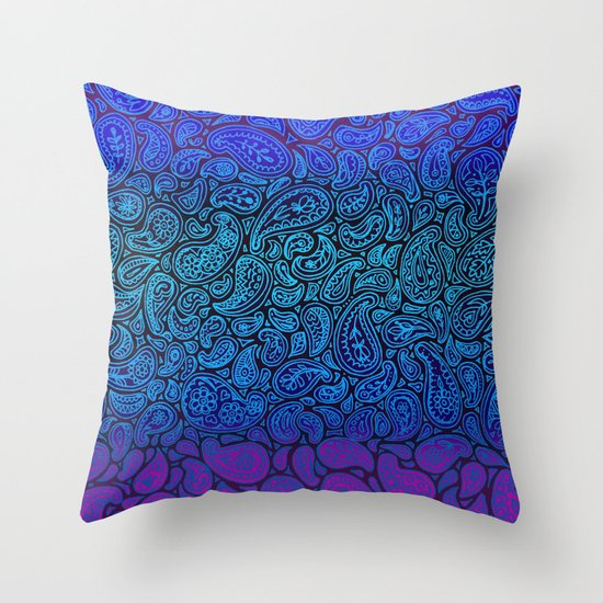 Purple Paisley - ombre paisley pattern in purple, blue and black. Throw Pillow