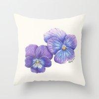 Purple Pansies Throw Pillow