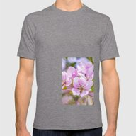 Pink Apple Blossom Mens Fitted Tee Tri-Grey SMALL