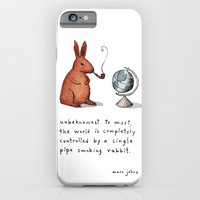rabbit iPhone & iPod Cases featuring Pipe-smoking rabbit by Marc Johns