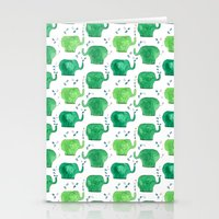 thousands of little green elephants Stationery Cards