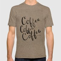 COFFEE COFFEE COFFEE Mens Fitted Tee Tri-Coffee SMALL