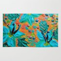BLOOMING BEAUTIFUL 2 - Modern Abstract Acrylic Tropical Floral Painting, Home Decor Gift for Her Rug