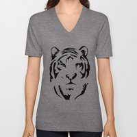 Minimalistic Tiger Face Unisex V-Neck