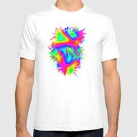 Groovy Splash Mens Fitted Tee White SMALL