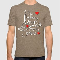 Valentine Love Calligraphy and Hearts V2 Mens Fitted Tee Tri-Coffee SMALL