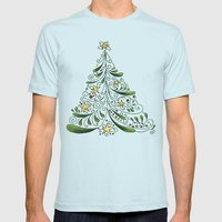 Christmas Tree Mens Fitted Tee Light Blue SMALL