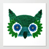 So Many Leaves = 1 Owl (Green) Canvas Print