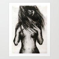 Girl Etching 4 Art Print