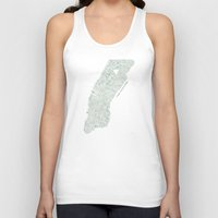 Map Manhattan NYC watercolor map Unisex Tank Top