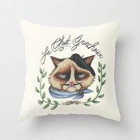 Monsieur Grumpy Throw Pillow