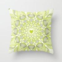 Green Circle Pattern Throw Pillow
