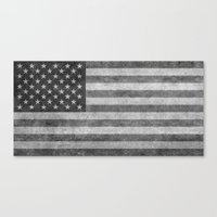 American flag - retro style in grayscale Canvas Print