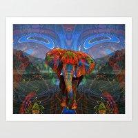 elephant Art Prints featuring Elephant by Waelad Akadan