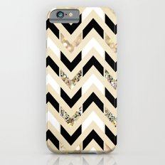 Black, White & Gold Glitter Herringbone Chevron on Nude Cream iPhone 6 Slim Case