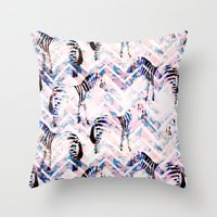 Zebras In Bloom Throw Pillow