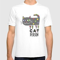 Cat Person Mens Fitted Tee White SMALL