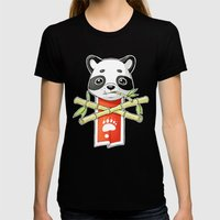 Panda Banner Womens Fitted Tee Black SMALL