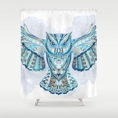 Blue Ethnic Owl Shower Curtain