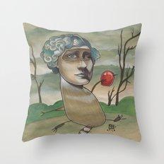 RED APPLE RACCOON Throw Pillow