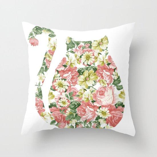 Garden Cat Throw Pillow