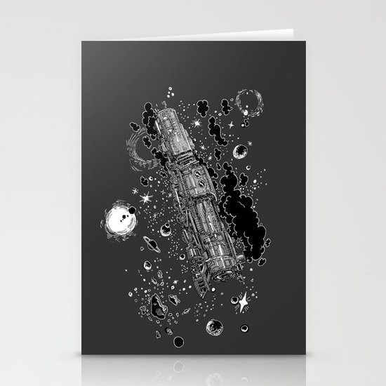 Space Train Stationery Card