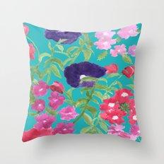 Blue Floral Print Throw Pillow