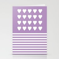 Heart Stripes Orchid Stationery Cards